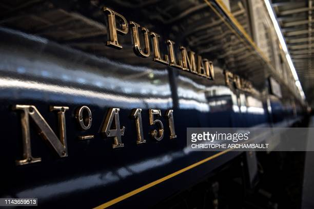 TOPSHOT This picture taken on May 13 2019 shows the carriage number of a restored Orient Express train displayed at the Gare de l'Est train station...