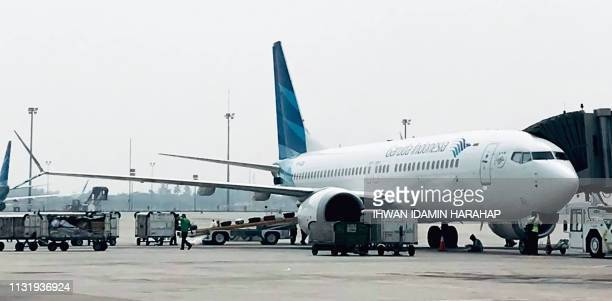This picture taken on May 15 2018 shows a Garuda Indonesia Boeing 737 Max 8 at Jakarta International airport in Jakarta Indonesia's national carrier...