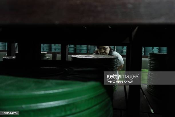 This picture taken on May 15 2018 shows former actress Grace Swe Zin Htaik viewing storage of old films at the state archive building in Yangon The...