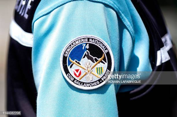 This picture taken on May 16 2019 shows a closeup view of the badge of a gendarme at the Sallanches Gendarmerie where Jose Antonio Urrutikoetxea...