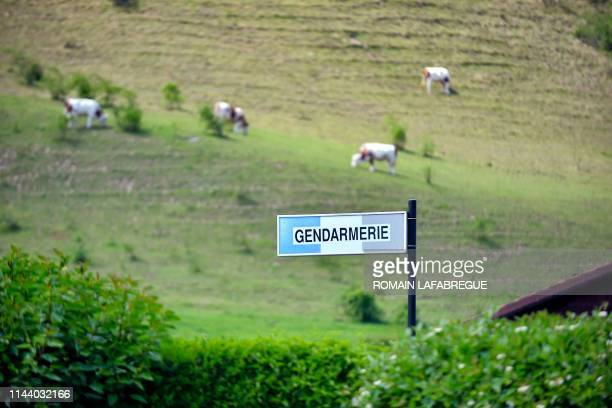 This picture taken on May 16 2019 shows a gendarmerie sign of the Sallanches Gendarmerie where Jose Antonio Urrutikoetxea Bengoetxea also known as...