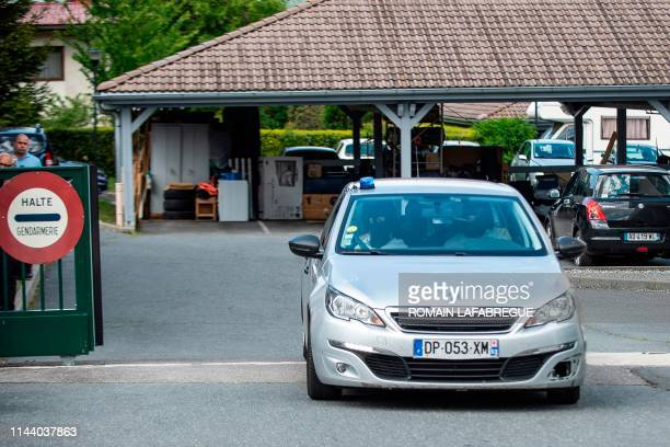 This picture taken on May 16, 2019 shows the Gendarmerie vehicle in which Jose Antonio Urrutikoetxea Bengoetxea also known as Josu Ternera, one of...