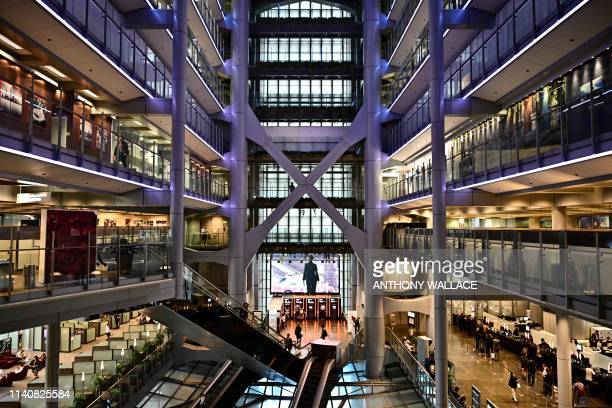This picture taken on May 2, 2019 shows a general view of the interior of the HSBC Hong Kong headquarters. - The London-headquartered HSBC banking...