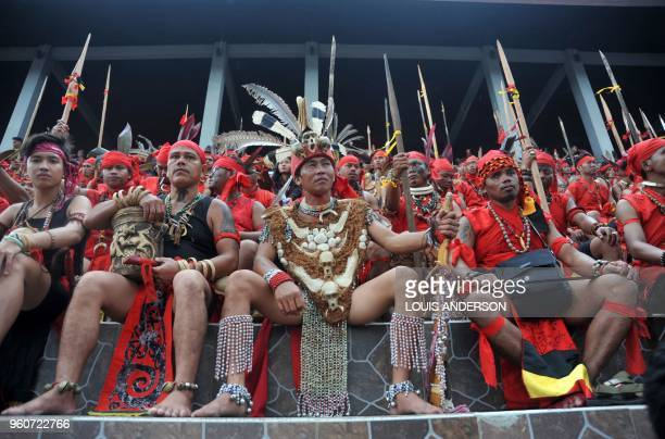 This picture taken on May 20 2018 shows members of the Dayak tribe attending the Gawai Dayak Festival in Pontianak West Kalimantan The Gawai Dayak...