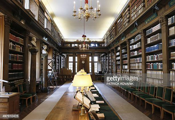 This picture taken on May 22 2014 shows an interior view of the French Academy library in Paris AFP PHOTO / PATRICK KOVARIK
