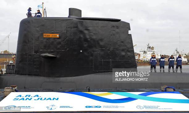 This picture taken on May 23 2014 in Buenos Aires and released by Telam shows the ARA San Juan submarine being delivered to the Argentine Navy after...