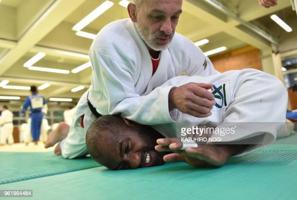 This picture taken on May 23 2018 shows French judoka Teddy Riner training at a dojo in the Tokyo suburb of Tama Riner may have won 10 world...
