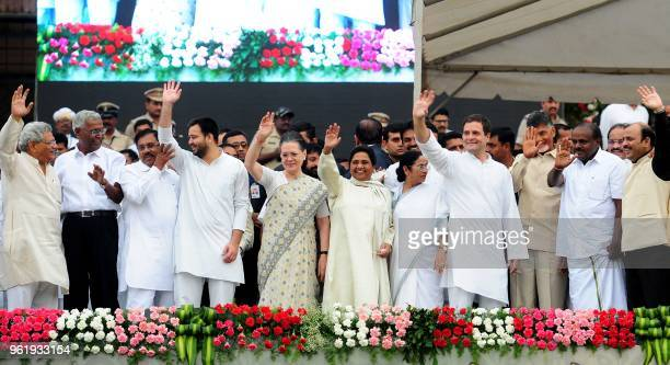 This picture taken on May 23 shows leaders from regional and opposition parties participating at the swearingin ceremony in Bangalore