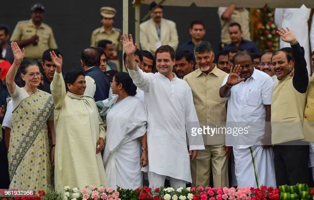 This picture taken on May 23 shows United Progressive Alliance chairperson Sonia Gandhi Majority People's Party supremo Mayawati West Bengal Chief...
