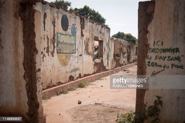 This picture taken on May 24, 2019 shows the remains of a store destroyed in armed clashes in Kaga Bandoro. - After 5 years, the Central African...