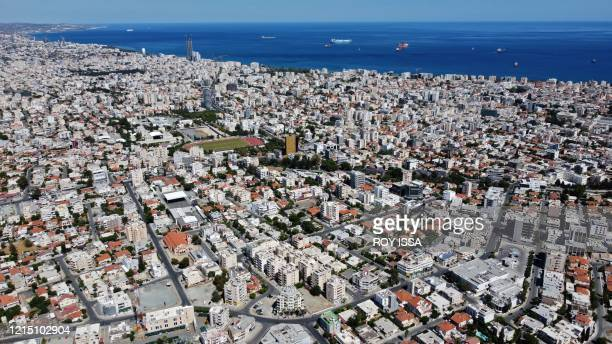 This picture taken on May 24, 2020 shows an aerial view of Cyprus' southern port city of Limassol, during a period of deconfinement following a...