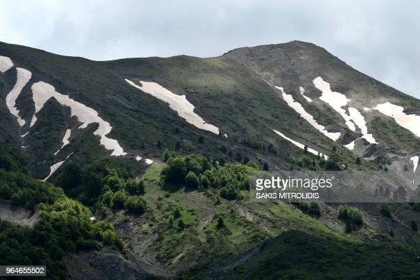 This picture taken on May 24 shows the mountains on the Greece-Albania borders near the village of Gramos in the north-western Greece. - In past...
