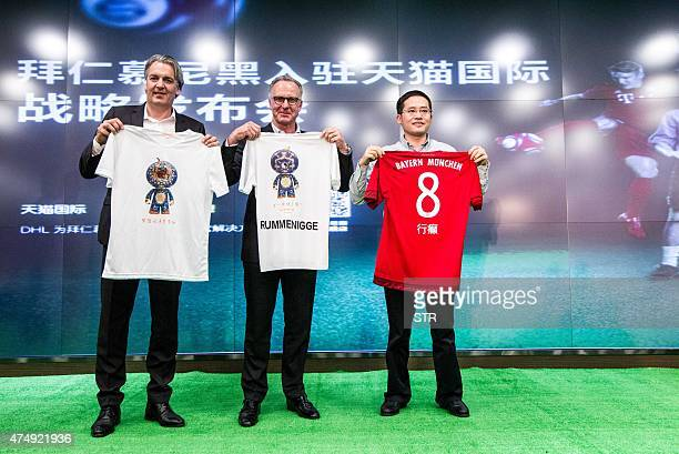 This picture taken on May 27 2015 shows Germany's FC Bayern Munchen chairman KarlHeinz Rummenigge attending a commercial event in Hangzhou east...