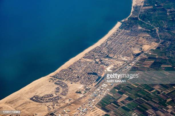 This picture taken on May 28, 2021 shows an aerial view of Egypt's northern Mediterranean coastal resort town of Gamasa.