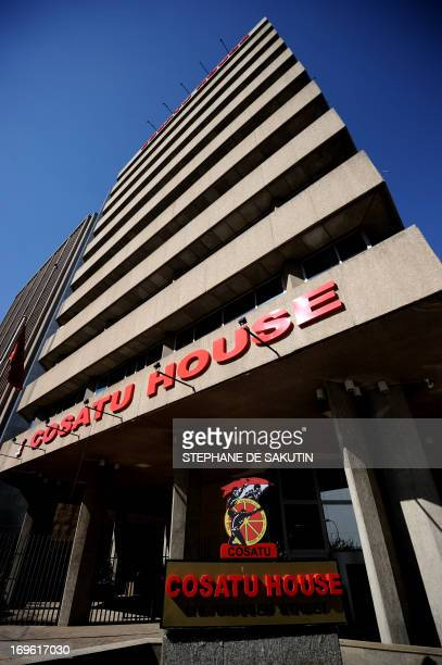 This picture taken on May 29 2013 shows the entrance to the Congress of South African Trade Unions premises before a press conference in Johannesburg...