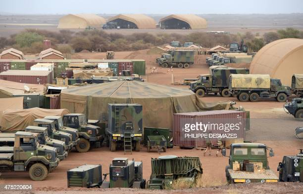 This picture taken on May 29 2015 shows during the Barkhane operation the French army base in Gao northern Mali Based in Mali's inhospitable northern...
