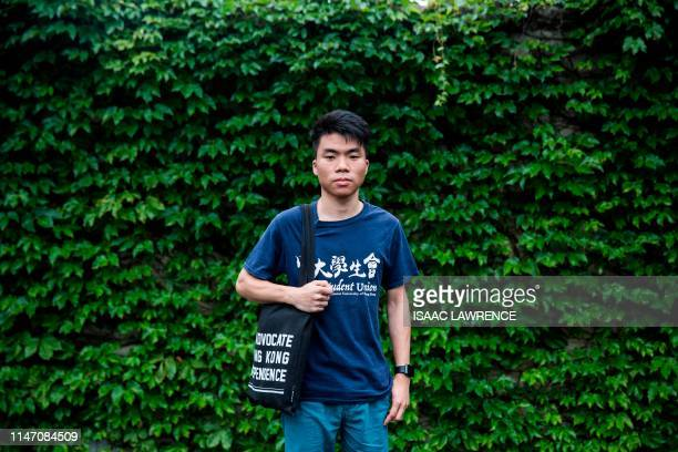 This picture taken on May 29 2019 shows 21yearold student William Chan posing for a photo at the Chinese University of Hong Kong in Hong Kong Hong...