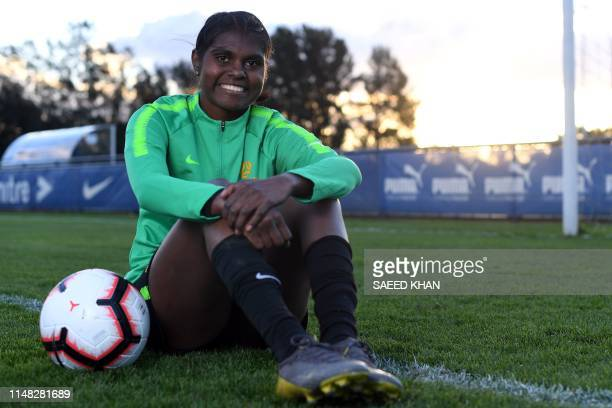 This picture taken on May 29 2019 shows young Australia's Matilda player Shadeene Evans posing for pictures prior to her training session in Sydney...