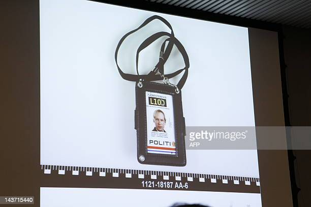 This picture taken on May 3 2012 shows false police credentials used by Norwegian rightwing extremist Anders Behring Breivik who killed 77 people in...