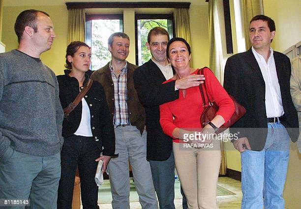 This picture taken on May 31 2001 shows pro independence Basque party Batasuna Basque members Jon Salaberria Araitz Zubimendi Antton Morcillo Jose...