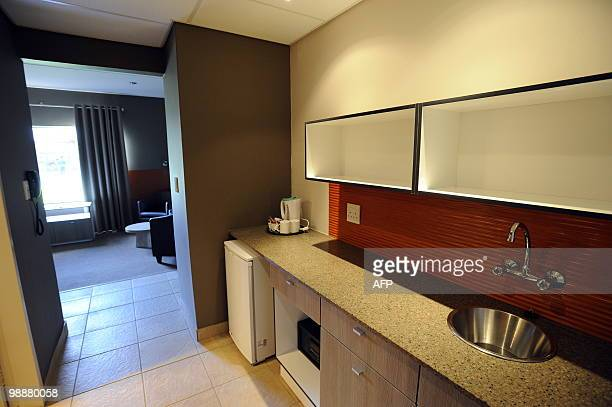 This picture taken on May 4, 2010 shows a kitchen in a room at NWU campus in Potchefstroom. The NWU campus will be the base camp for Spain's national...