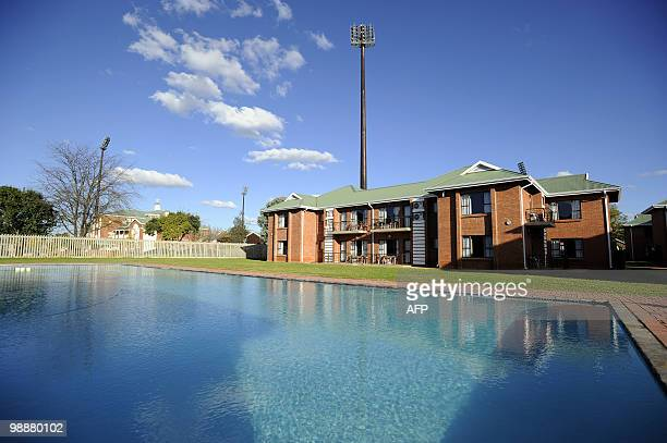 This picture taken on May 4, 2010 shows the swimming pool at NWU campus in Potchefstroom. The NWU campus will be the base camp for Spain's national...