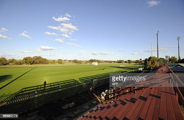 This picture taken on May 4, 2010 shows the training field at NWU campus in Potchefstroom where Spain's national football team will train during the...