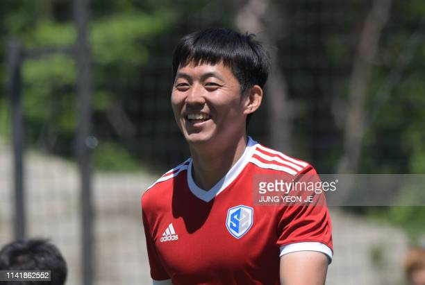 This picture taken on May 6, 2019 shows Son Heung-yun, elder brother of Tottenham Hotspur striker Son Heung-min, smiling during a training session at...