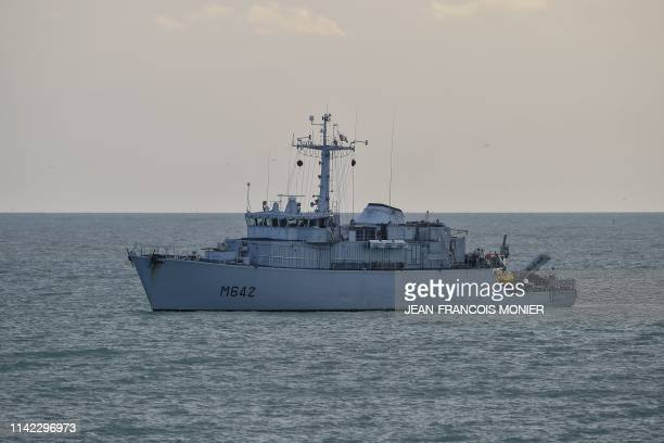 This picture taken on May 8 2019 shows the French minehunter Cassiopee sailing toward Le Havre harbourg The French government confirmed on May 8 2019...