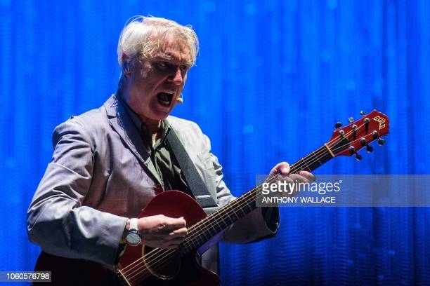 This picture taken on November 10 2018 shows ScottishUS singer David Byrne formerly of the band Talking Heads performing at the annual Clockenflap...