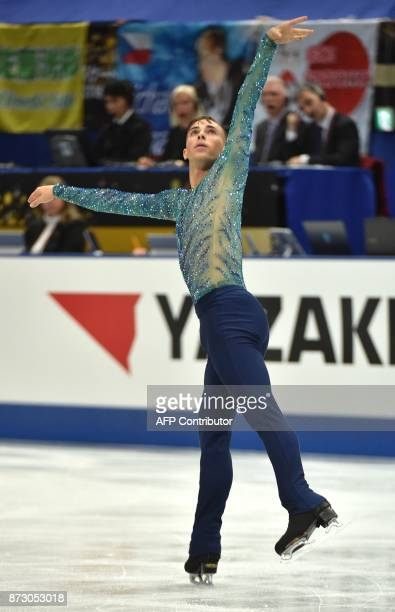 This picture taken on November 11 2017 shows Adam Rippon of the US during the men's free skating event in the NHK Trophy figure skating competition...