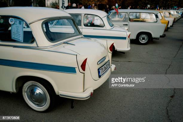This picture taken on November 11 shows Trabant cars during celebration of the 60th anniversary of the car in the town of Pavel Banya The Trabant was...