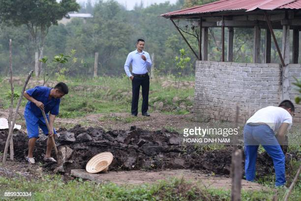 This picture taken on November 16 2017 shows a supervisor looking on as inmates work on agricultural land at a drug rehabilitation centre in the...