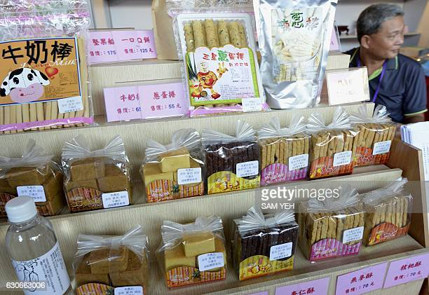 This picture taken on November 17 2016 shows confectionery made by prison inmates for sale during a prison goods exhibition in central Taichung If it...