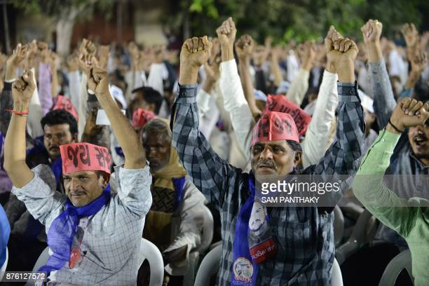This picture taken on November 18 2017 shows supporters of Hardik Patel leader of Patidar Anamat Andolan Samiti participating in a gathering during...