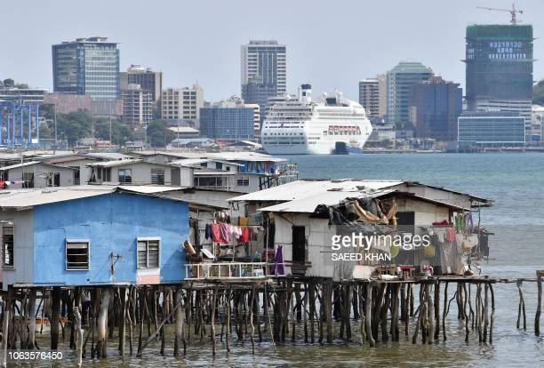 TOPSHOT This picture taken on November 19 2018 show makeshift huts seen across the ship accommodating delegates and journalists attending the...