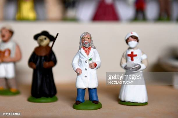 This picture taken on November 20 in Saint-Cyr-sur-Mer, southeastern France, shows a santon, a small hand-painted terracotta nativity scene figurine...