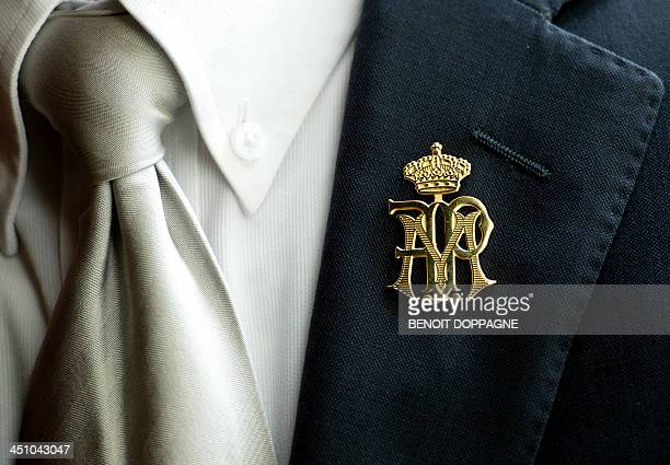 This picture taken on November 21, 2013 shows the new pin worn by Belgian Royal staff members during a meeting of the King and Queen with the...