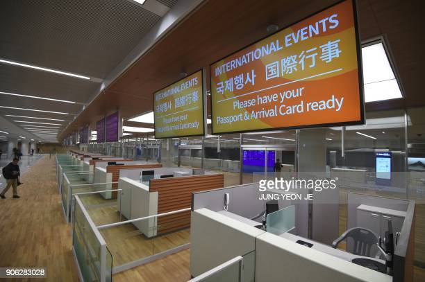 This picture taken on November 21 2017 shows a general view of the immigration area at Terminal 2 of Incheon International Airport west of Seoul...