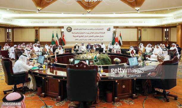 This picture taken on November 21 2018 shows economic representatives of the Gulf Cooperation Council's attending a meeting of the commerce and...