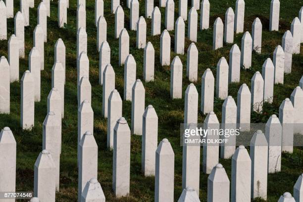 This picture taken on November 21 shows gravestones at the memorial center of Potocari near Srebrenica On November 22 ICTY judges will deliver their...