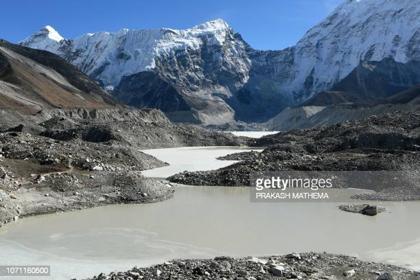 This picture taken on November 22 2018 shows a general view of the Imja glacial lake controlled exit channel in the Everest region of the Solukhumbu...