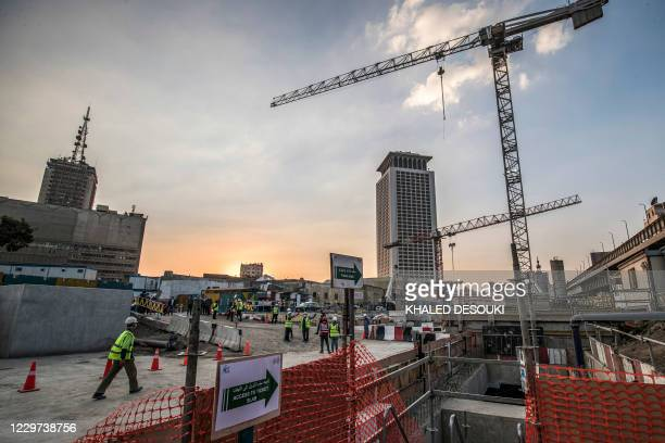 This picture taken on November 22, 2020 shows a view of ongoing construction work at the Maspero station of the Cairo Metro's third line during the...