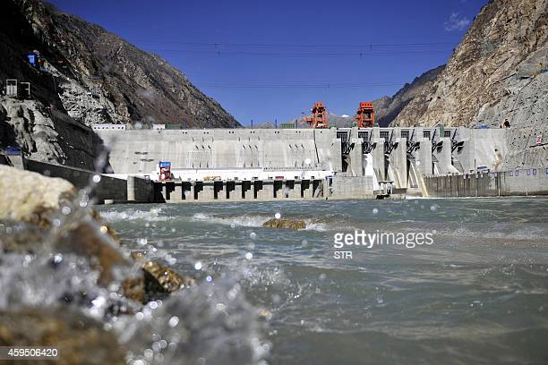 This picture taken on November 23 2014 shows the Zangmu Hydropower Station in Gyaca county in Lhoka or Shannan prefecture southwest China's Tibet...