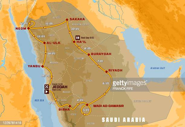 This picture taken on November 25, 2020 shows the Map of the 2021' Dakar Rally in Paris. - The Dakar Rally will take place in Saudi Arabia from...