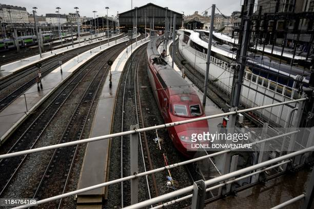 This picture taken on november 26, 2019 shows a Thalys train of French railway company SNCF at Gare du Nord railway station, in Paris.