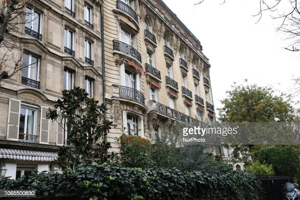 This picture taken on November 26 shows a luxurious residence located in avenue GorgesMendel in the upscale residential 16th arrondissement of Paris...