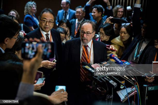 This picture taken on November 27 2018 shows biologist and summit chair David Baltimore of the California Institute of Technology speaking at a press...