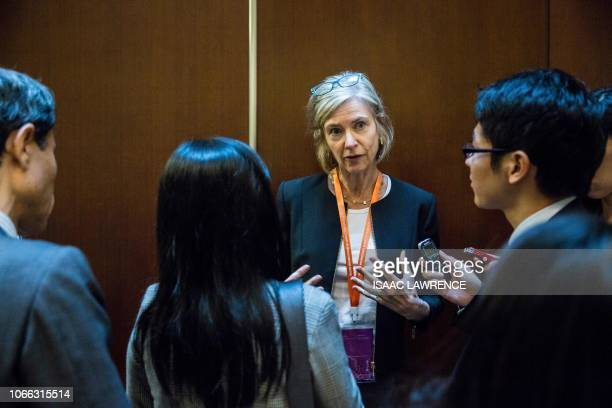 This picture taken on November 27 2018 shows Jennifer Doudna who cocreated CRISPR a technique which allows scientists to remove and replace a strand...