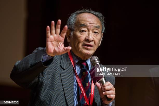 This picture taken on November 27 2018 shows Qiu Renzong formerly the vice president of the Chinese Ministry of Health's ethics committee speaking at...